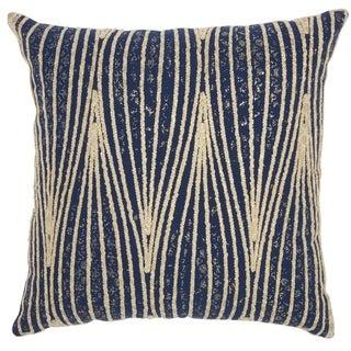 Mina Victory Metallic Wavy Lines Throw Pillow