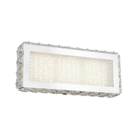Chrome Stainless Steel LED Wall Sconce with Clear Crystal Accents