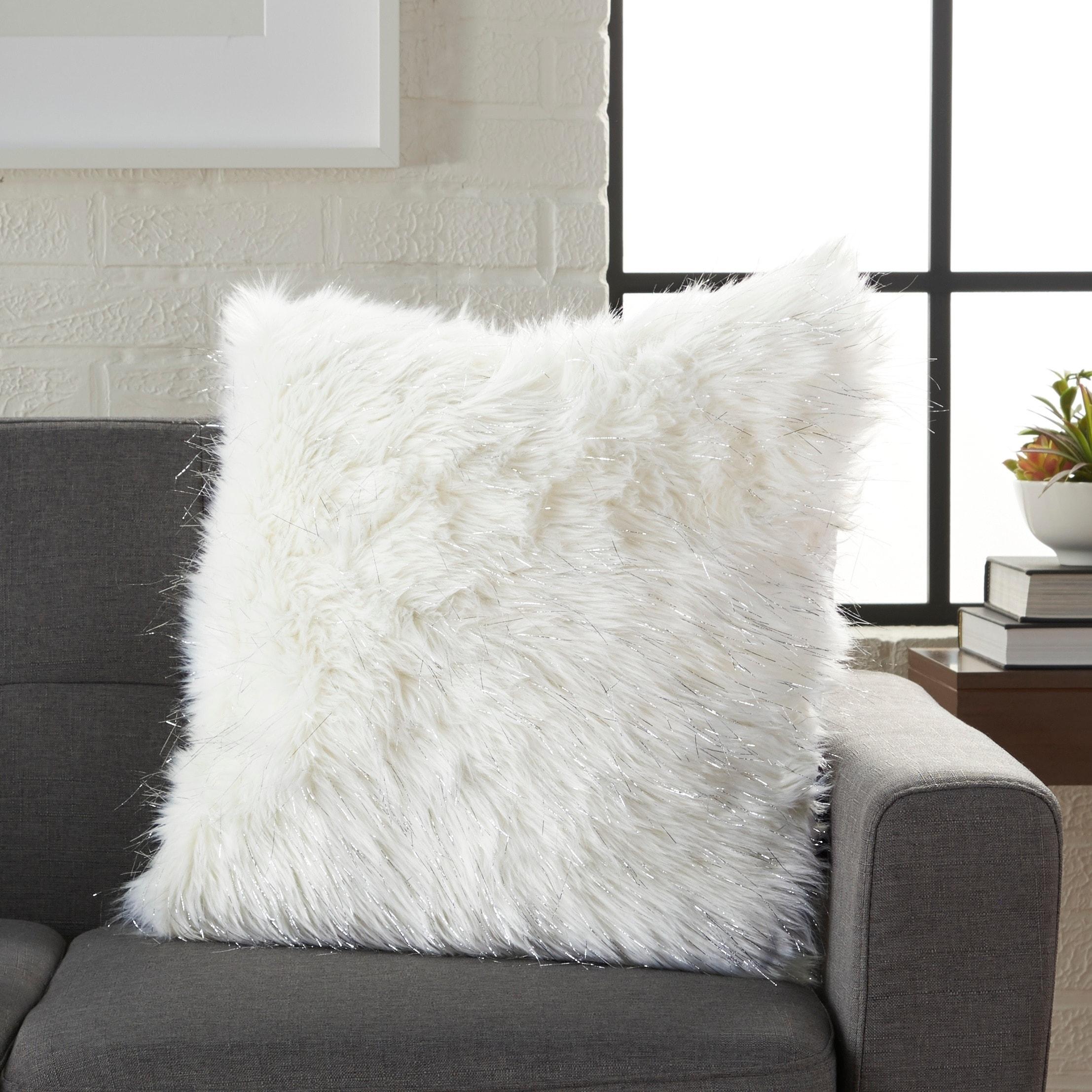 Faux Fur Decorative Pillow.Silver Orchid Henry White Faux Fur Decorative Throw Pillow
