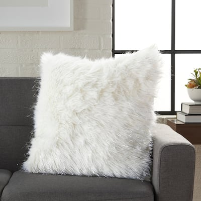Silver Orchid Henry White Faux Fur and Tinsel Decorative Throw Pillow