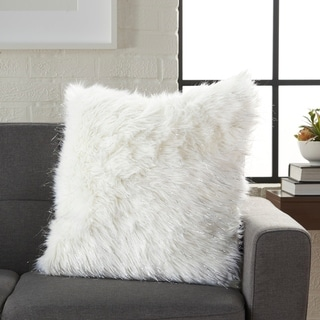 Link to Silver Orchid Henry White Faux Fur and Tinsel Decorative Throw Pillow Similar Items in Decorative Accessories
