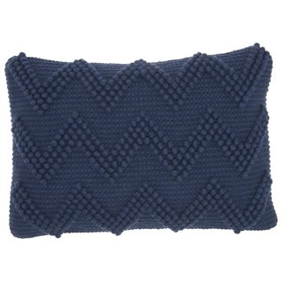 Mina Victory Large Chevron Indigo 14 x 20 Decorative Throw Pillow