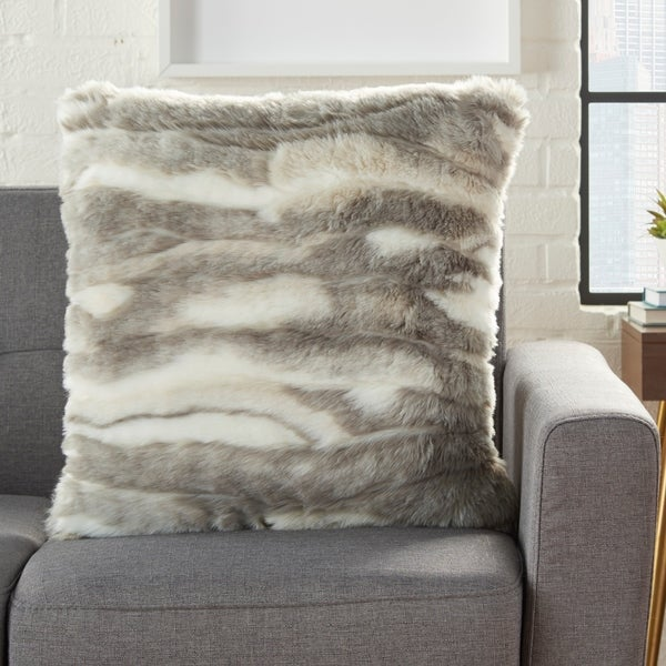 Mina Victory Plush Faux Angora Grey/White Throw Pillow