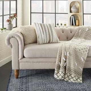 Mina Victory Luminecence Beaded Waves Square 18 x 18 Decorative Throw Pillow