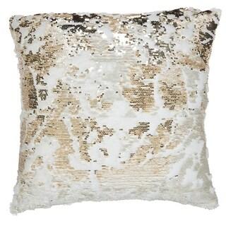 Mina Victory Mermaid Sequin Faux-Fur Throw Pillow