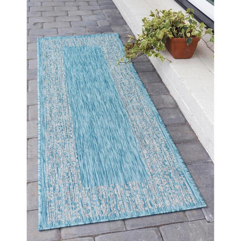 Unique Loom Outdoor Floral Border Rug