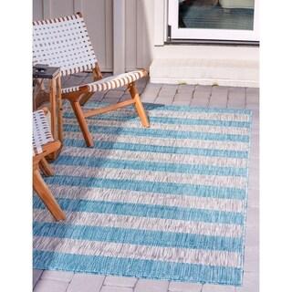 Unique Loom Outdoor Distressed Stripe Rug
