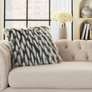 Inspire Me! Home Décor Faux Fur Feathers Charcoal 24 x 24 Decorative Throw Pillow