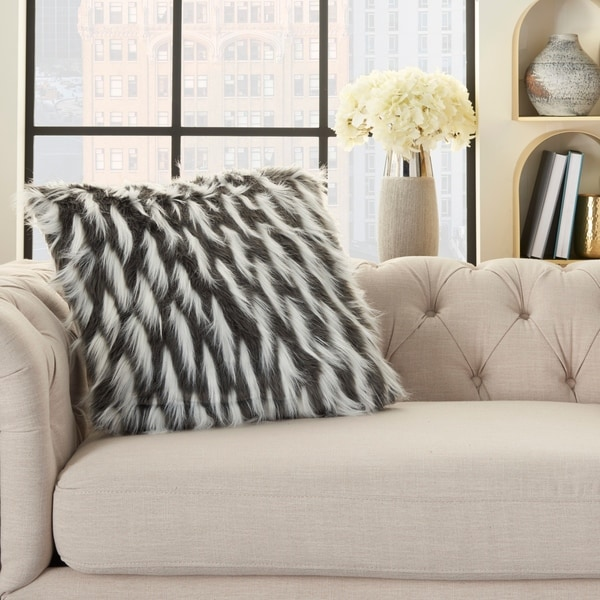 Inspire Me! Home Décor Faux Fur Feathers Charcoal 24 x 24 Decorative Throw Pillow. Opens flyout.