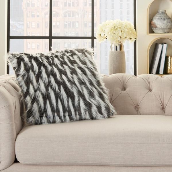 Inspire Me! Home Décor Faux Fur Feathers Charcoal 24 x 24 Decorative Throw Pillow