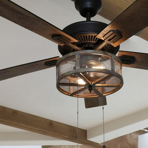 "52"" Dixsie 5-Blade Woodgrain Caged Farmhouse LED Ceiling Fan with Remote Control - 52""L x 52""W x 19""H"