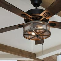 River of Goods Dixsie Bronze and Woodgrain Caged Farmhouse LED 5-blade Ceiling Fan with Remote Control