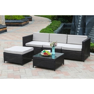 5pc PE Rattan Outdoor Cushioned Sectional Set