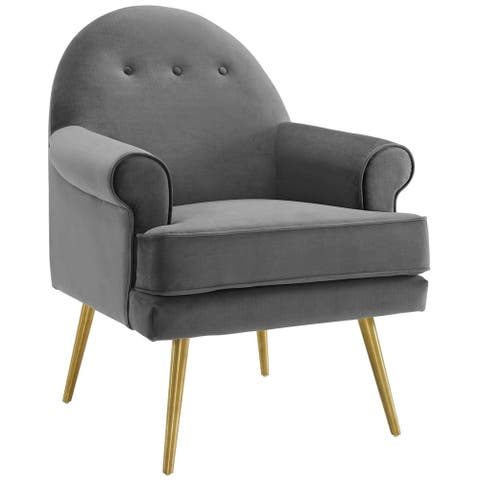 Silver Orchid Gruning Velvet Tufted Button Accent Armchair