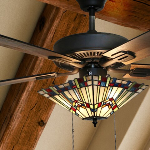 Copper Grove Sungurlare Bronze Metal/Stained Glass 5-blade 52-inch Craftsman Ceiling Fan with Remote Control