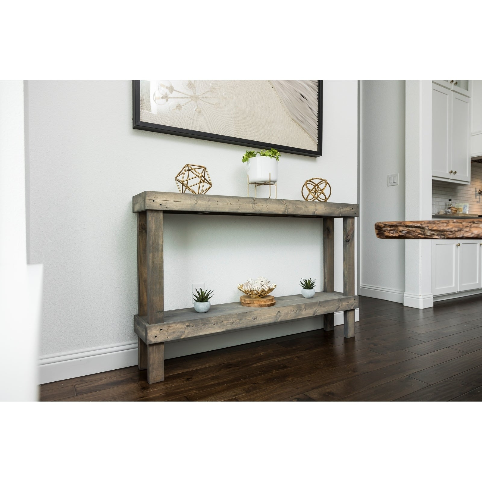 Shop Rustic Luxe Large Wooden Sofa Table By Del Hutson Designs Overstock 27316931 Grey