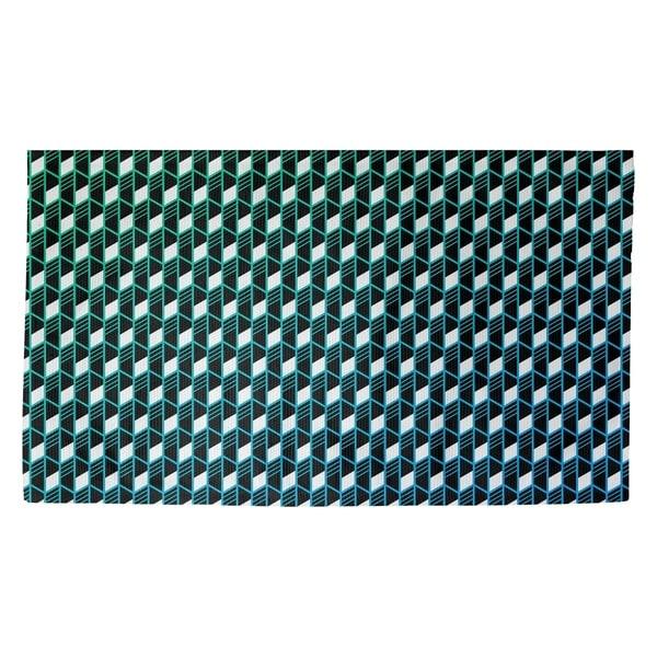 Katelyn Elizabeth Green & Blue Geometric Stripes Dobby Rug