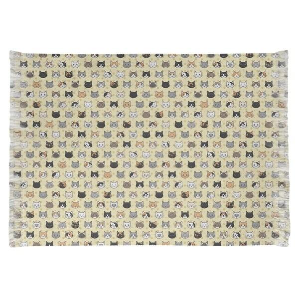 Katelyn Elizabeth Yellow Kitty Cat Pattern Chenille Rug