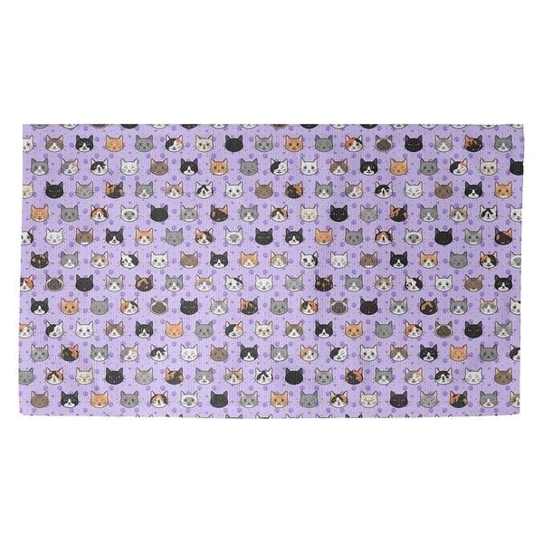 Katelyn Elizabeth Purple Kitty Cat Pattern Dobby Rug