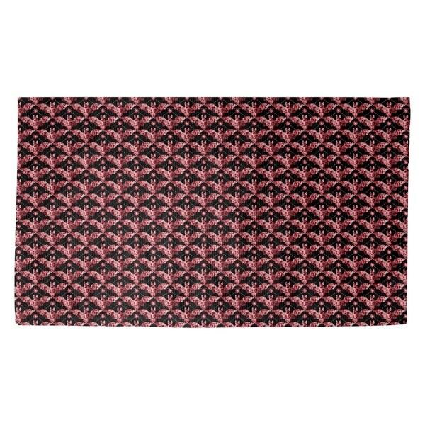 Katelyn Elizabeth Red Bats Pattern Dobby Rug