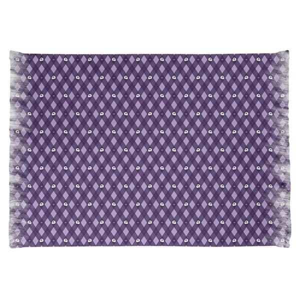 Katelyn Elizabeth Purple Argyle Skulls Pattern Chenille Rug