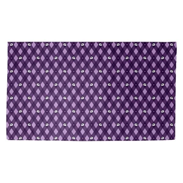 Katelyn Elizabeth Purple Argyle Skulls Pattern Dobby Rug