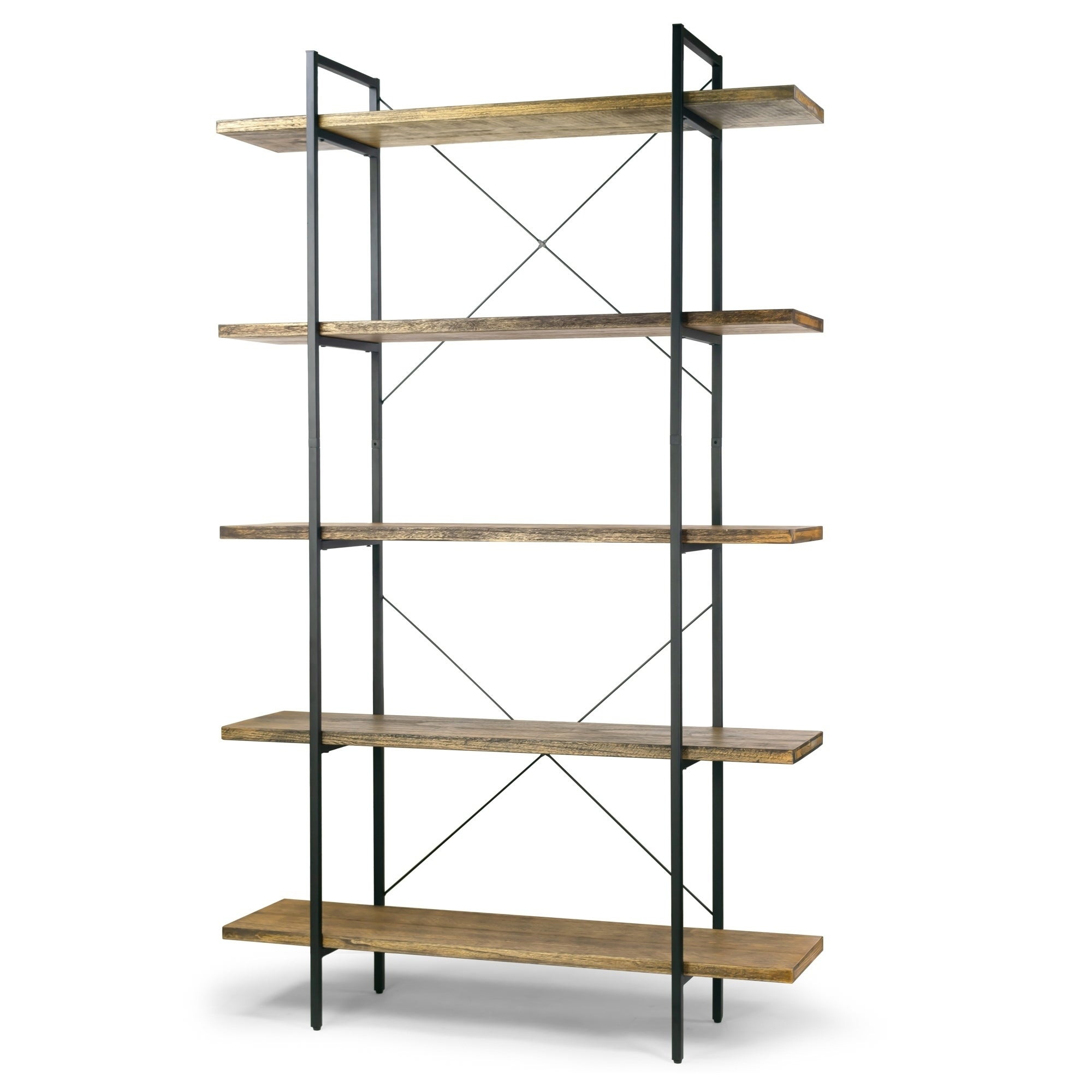 Amrit 84 5 Wood Shelf Metal Frame Etagere Five Shelf Bookcase Overstock 27321053