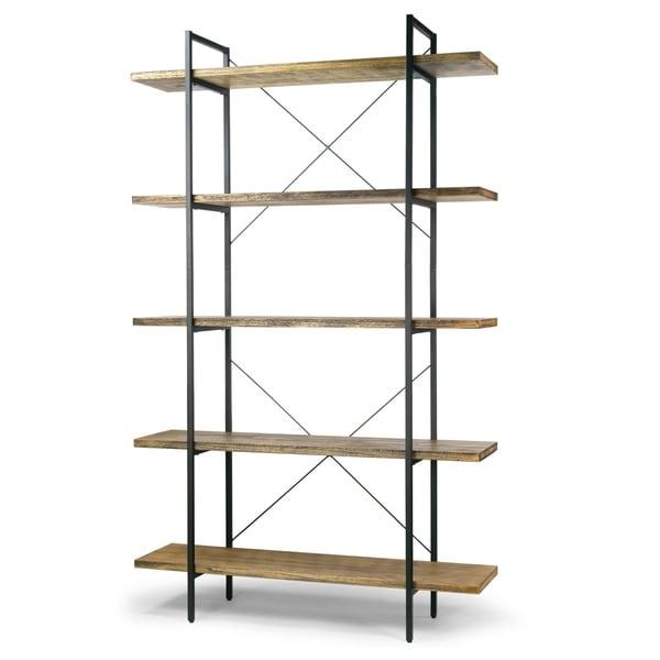 "amrit-845""-wood-shelf-metal-frame-etagere-five-shelf-bookcase by generic"