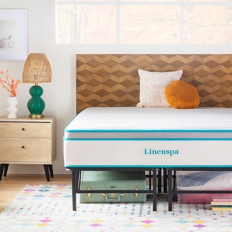 "Linenspa Essentials 12"" Spring and Memory Foam Hybrid Mattress with Platform Frame"