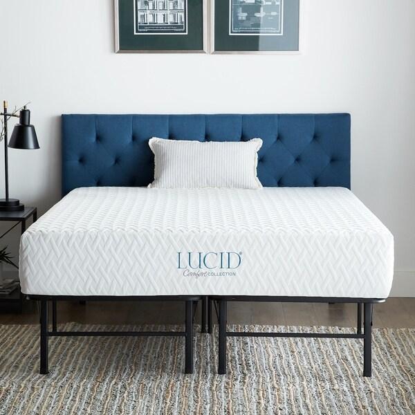 LUCID Comfort Collection 10-inch Gel Memory Foam Mattress with Platform Bed Frame Set. Opens flyout.