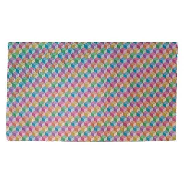 Katelyn Elizabeth Color Lined Rainbow Cube Pattern Dobby Rug