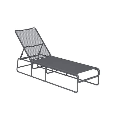 Cosco Nyla Charcoal Grey Resin/Steel Adjustable-height Chaise Lounge