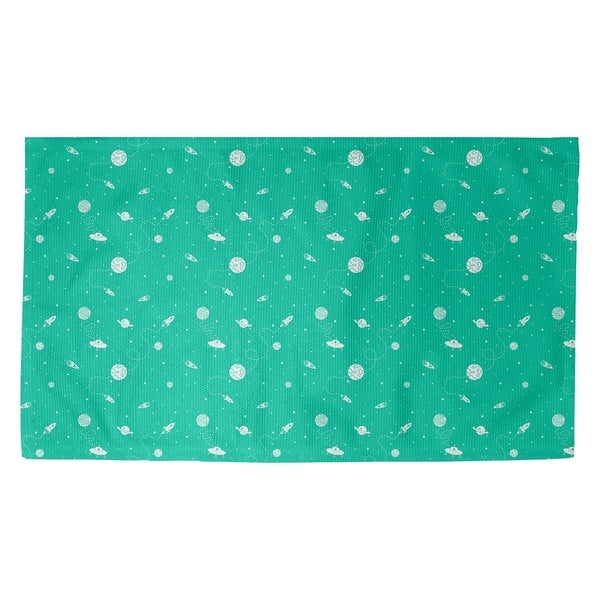 Katelyn Elizabeth Green Outer Space Pattern Dobby Rug