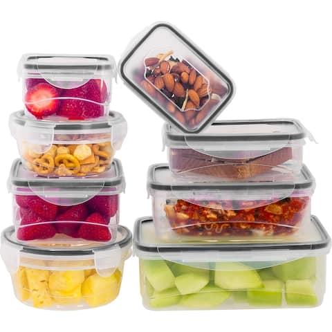 16 Pcs Plastic Food Storage Containers Set With Air Tight Locking Lids