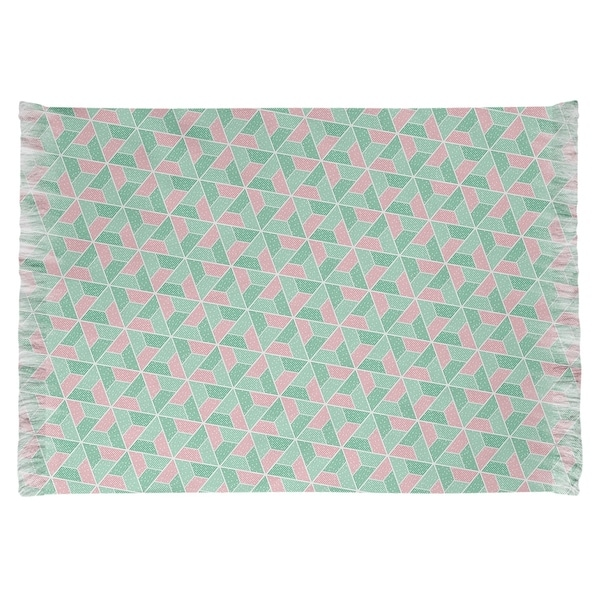 Katelyn Elizabeth Green & Pink Trapezoids Chenille Rug