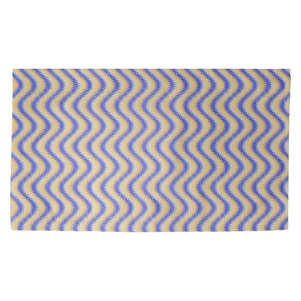 Katelyn Elizabeth Blue & Yellow Wavy Stripe Pattern Dobby Rug