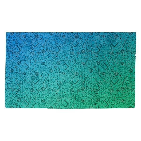 Katelyn Elizabeth Green & Blue with Black RPG Pattern Dobby Rug