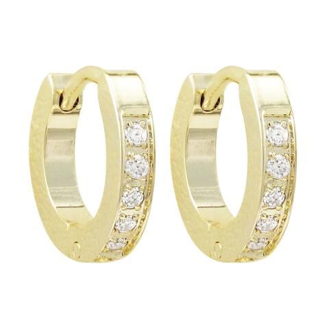 Luxiro Gold Finish white Cubic Zirconia Girl's Hoop Earrings