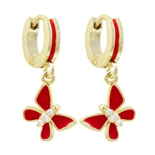 Link to Luxiro Gold Finish Red Enamel Girls's Dangling Butterfly Huggie Earrings Similar Items in Children's Jewelry