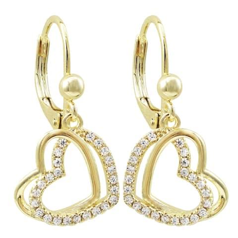 Luxiro Gold Finish Cubic Zirconia Open Double Heart Girl's Dangling Earrings