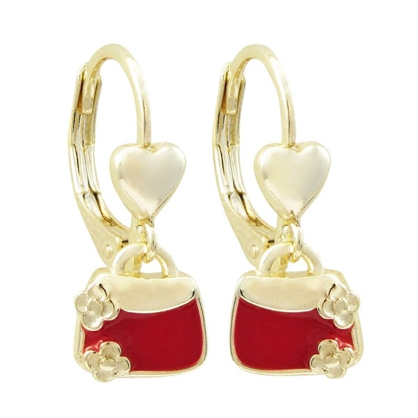 Luxiro Gold Finish Red Enamel Girls's Dangling Purse Charm Earrings. Opens flyout.