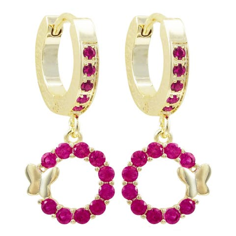 Luxiro Gold Finish Lab-created Ruby Open Circle Butterfly Girl's Huggie Earrings