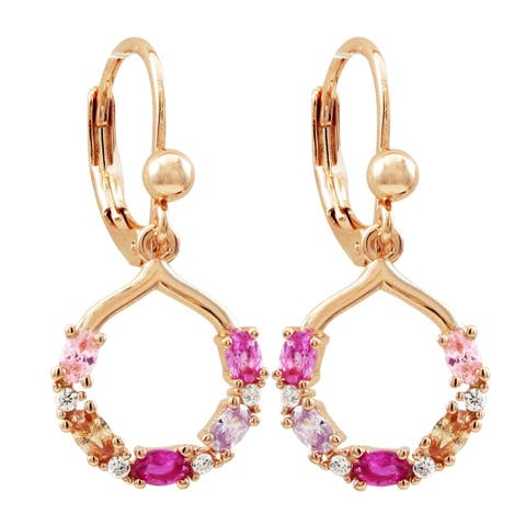 Luxiro Rose Gold Finish Lab-created Ruby with CZ's Open Circle Girl's Earrings