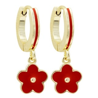 Link to Luxiro Gold Finish Enamel Girls's Dangling Flower Huggie Earrings Similar Items in Children's Jewelry