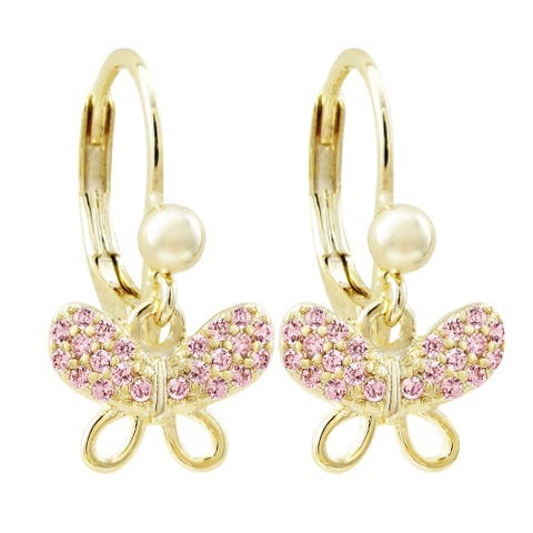 Luxiro Gold Finish Cubic Zirconia Open Butterfly Girl's Dangling Earrings