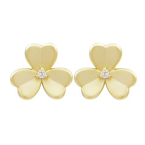 Luxiro Gold Finish Surgical Steel Cubic Zirconia Post Flower Earrings