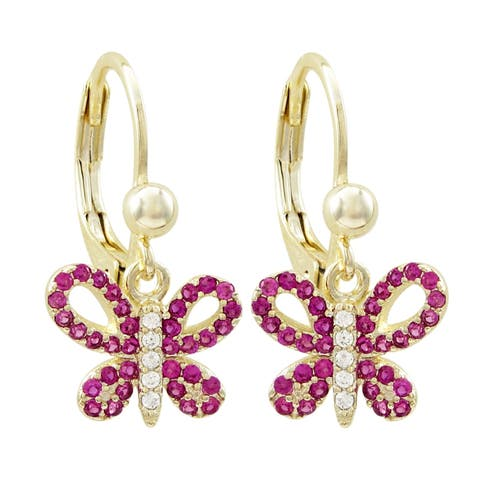 Luxiro Gold Finish Lab-created Ruby with CZ's Open Butterfly Girl's Dangling Earrings