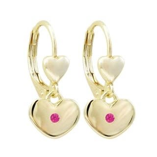 Luxiro Gold Finish Lab-created Ruby Girl's Dangling Heart Earrings