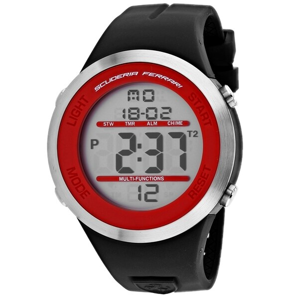 Ferrari Men's 830371 'Digital' Black Silicone Watch