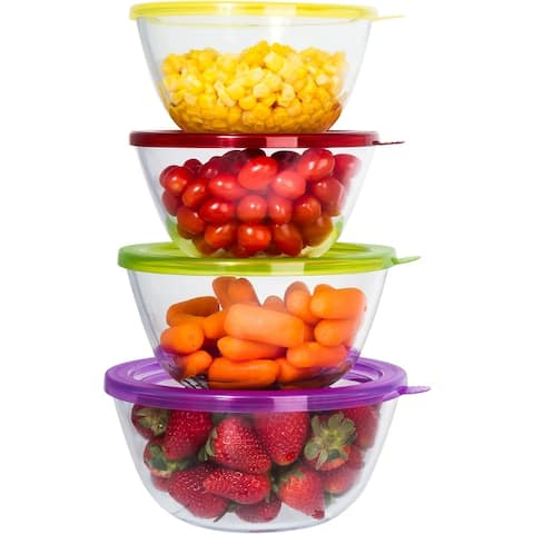 Glass Mixing Bowl Set 4 Large Durable Glass Baking Storage Container Bowls Set